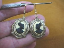 (CAE1-33) RARE African American LADY ivory + black CAMEO dangle Earrings JEWELRY