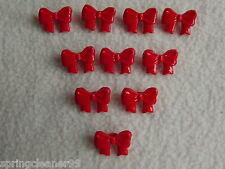 10 x RED BOW SHAPED BUTTONS 26L (approx 16mm x 10mm) ~ FASHION/CRAFT