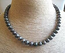 Genuine Blue/Grey Freshwater Pearl Necklace - Silver Clasp - 18""