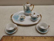 VINTAGE MINIATURE FINE PORCELAIN TEA SET ON TRAY FLORAL WITH GOLD TRIM