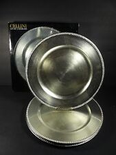 "New In Box Set of 4 Cellini 13"" Silver Beaded Plate Chargers - Underplates"
