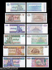Burma 1 + 5 + 10 + 20 + 50 + 100 Kyats Set of 6 Mint UNC Banknotes 6 PCS