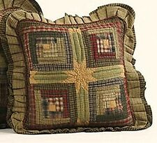 Primitive Country Tea Cabin Quilted LOG CABIN PILLOW Red Green Tan Homespun