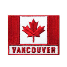 CANADA COUNTRY FLAG WITH WORD VANCOUVER SQUARE RED IRON-ON PATCH CREST BADGE