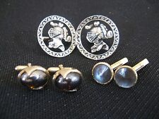 Vtg Swank Cufflinks, Lot of 3 Pair, Knights, Mother of Pearl, Silvery Cabochons