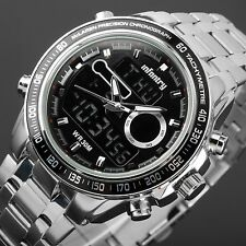 INFANTRY Mens Digital Quartz Wrist Watch Alarm Chronograph Sport Stainless Steel