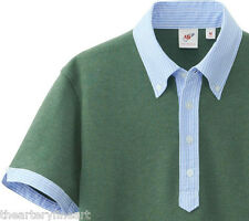 MICHAEL BASTIAN x UNIQLO Washed Green Polo Shirt w/ Contrasting Collar S **NEW**