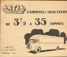 SURESNES CAMIONS TRACTEURS LATIL PUBLICITE ADVERTISING 1956 ?
