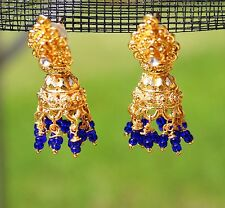 Gold tone gilted blue glass seed beaded India style pierced   EARRINGS