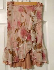 Pink Ivory Floral Asymmetrical Silk Chiffon Knee Skirt THE LIMITED Women Size 2