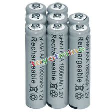 8x AAA battery batteries Bulk Nickel Hydride Rechargeable NI-MH 1800mAh 1.2V Gy