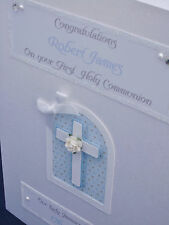 Luxury Personalised Boy's 1st Holy Communion/Christening/Baptism Card, boxed