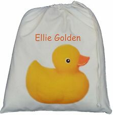 PERSONALISED - RUBBER DUCK DESIGN - LARGE COTTON DRAWSTRING BAG - ducky