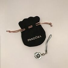Genuine Pandora Velvet Pouch With Black Lobster Clasp Opener Nail Saver Charm