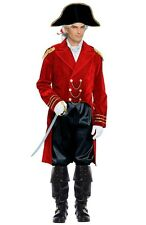 ADULT NAPOLEON GENERAL BONAPARTE CAPTAIN COLONIAL MENS COSTUME JACKET HAT RED