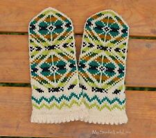 Handknit Mittens in Forest Green, Lemon Grass and Turquoise 100% wool Gloves