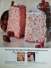 1964 Betty Crocker Heavenly Angel Food Cake Mixes Strawberry Original Ad