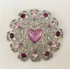 New Love European Style Flower Lavender Purple Heart Round Brooch Pin Gift B1074