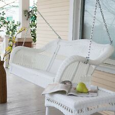 Outdoor Porch Swing Patio Garden Deck Wicker White Bench Resin Glider Hanging