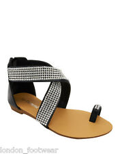 Womens Ladies Diamante Toe Loop Sandal Gladiator Summer Flat Cross Strappy New