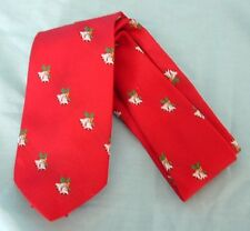 """Cape Code Red Bell/Holly Neck Tie 4"""" wide"""
