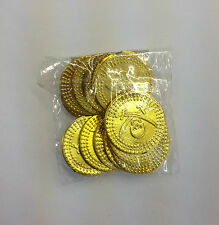 PLASTIC PIRATE TREASURE PARTY BAG GOLD COINS 12 PER PACK SKULL AND CROSSBONES
