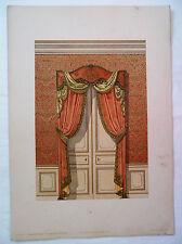 ANCIENNE CHROMO 1880 / MODELES DE TENTURES / PORTIERE GENRE LOUIS XIV / PL6