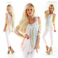 Sommer Bluse Tunika Shirt 2 teiler Top +Shirt Crush bunt Stickerei gelb bunt