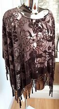 BNWT stunning pure silk brown devore poncho evening cape by Jay Ley RRP £75.00