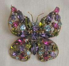 Colorful Vintage Rhinestone Regency Butterfly Brooch Pin