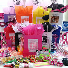 HEN PARTY BAGS PERSONALISED AND-FILLED- WITH CHOICE OF 9 THEMED FRONTS & TISSUE