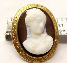 Antique 14K Gold Carved Sardonyx Cameo Brooch Pendant Detailed Relief Estate Vtg