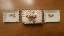 OLD JAPAN PACIFIC HAND PAINTED MATCH TOBACCO BOX AND ASHTRAYS (3 PIECE )
