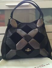 NWOT!!! Coach Edie Black Leather Suede Patchwork Shoulder Bag Purse $425