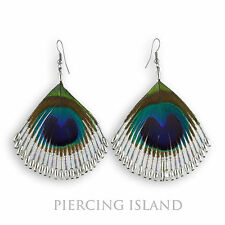Super Pfauenfeder Pfau Feder Design Ohrringe Peacock Feather Earrings ER269