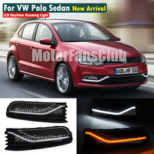 LED Daytime Running Light For Volkswagen VW Polo Sedan DRL 2014 2015 Turn Signal