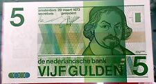 1973 Issue 5 Gulden from the Netherlands Uncirculated Bank Note C-001
