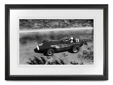 "Stirling Moss HAND SIGNED Vanwall at Pescara 1957, F1 photo 18x12"" COA"