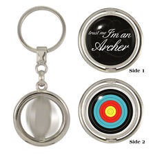 Trust Me I'm An Archer & Target Spinning Keyring bowman toxophilite arrows NEW