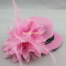 Lady Feather Mini Top Hat Dots Net Rose Hair Clip Women Lolita Fascinator Party