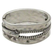 Zipper Cuff Bracelet Hinged Bangle Antiqued Silver Steampunk 7-1/2 inch Jewelry