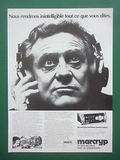 1979 PUB MARCONI MARCRYP SECURITE TRANSMISSIONS CRYPTOPHONIE CRYPTEX FRENCH AD