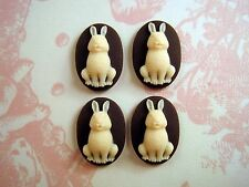 18x13mm Bunny Cameos (4) - L325 Jewelry Finding