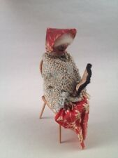 VINTAGE DOLLHOUSE MINIATURE-GRANNY ELDERLY WOMAN SITTING ON CHAIR READING A BOOK