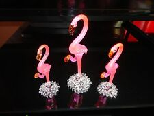 3 Set of Flamingos of Blown Glass Crystal