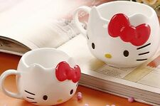 A Lovely Hello Kitty Cat Cup Tea Milk Coffee Mug White RED Bowknot