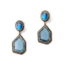 Boucles d`Oreilles Clips Pinces Doré Art Deco Ovale Irregulier Bleu Gris A13