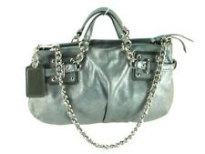 "FLAWLESS $398 ~ COACH Gunmetal Gray Dusted Suede ""BROOKE"" Chain Handbag #14342"