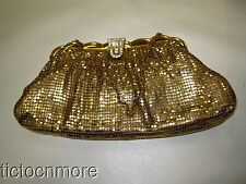 VINTAGE WHITING & DAVIS MESH MATES GOLDEN PURSE W/ RHINESTONE SNAP