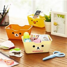 Cute Rilakkuma Relax Bear Small Desktop Storage Box Pen,Remote Control 1PC Beige